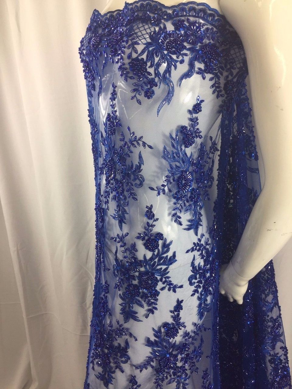 Super Bridal luxury wedding beaded royal blue mesh lace fabric. Sold by the yard - KINGDOM OF FABRICS