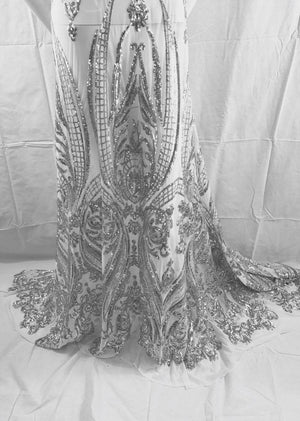 Royalty Designs Mesh Lace Sequins Fabric Bridal Wedding Silver. Sold By The Yard - KINGDOM OF FABRICS