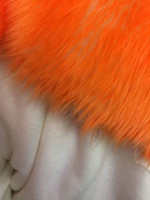 Super Soft Faux Fur Shaggy Twotone Fabric Orange Offwhite. Sold By The Yard - KINGDOM OF FABRICS