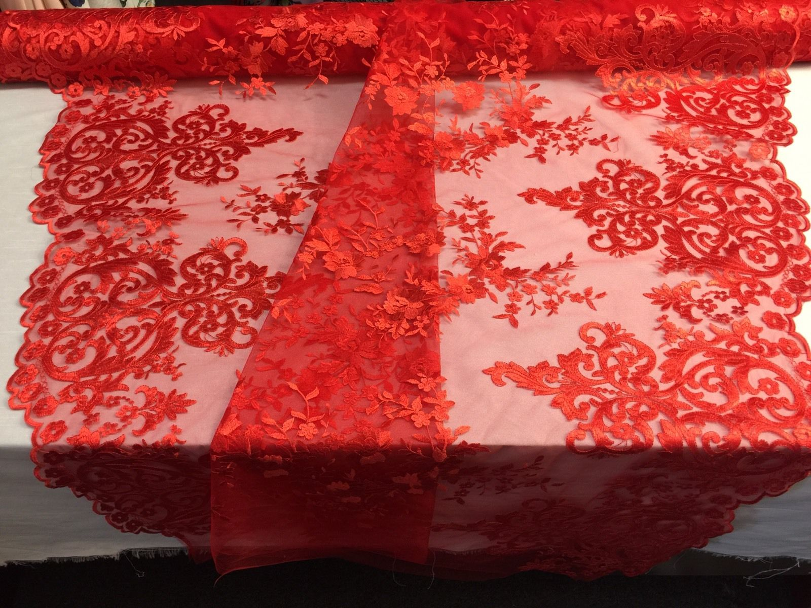 Red Embroidered Lace Fabric On A 2 Way Stretch - Wedding Dress - By The Yard - KINGDOM OF FABRICS