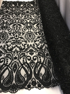 Lace fabric By The Yard Black Mesh Dress Hand Embroidered Beaded Bridal Wedding - KINGDOM OF FABRICS