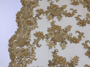 Lace Fabric - 3D Flower Beaded With Precious Crystal Sequins Gold By The Yard - KINGDOM OF FABRICS