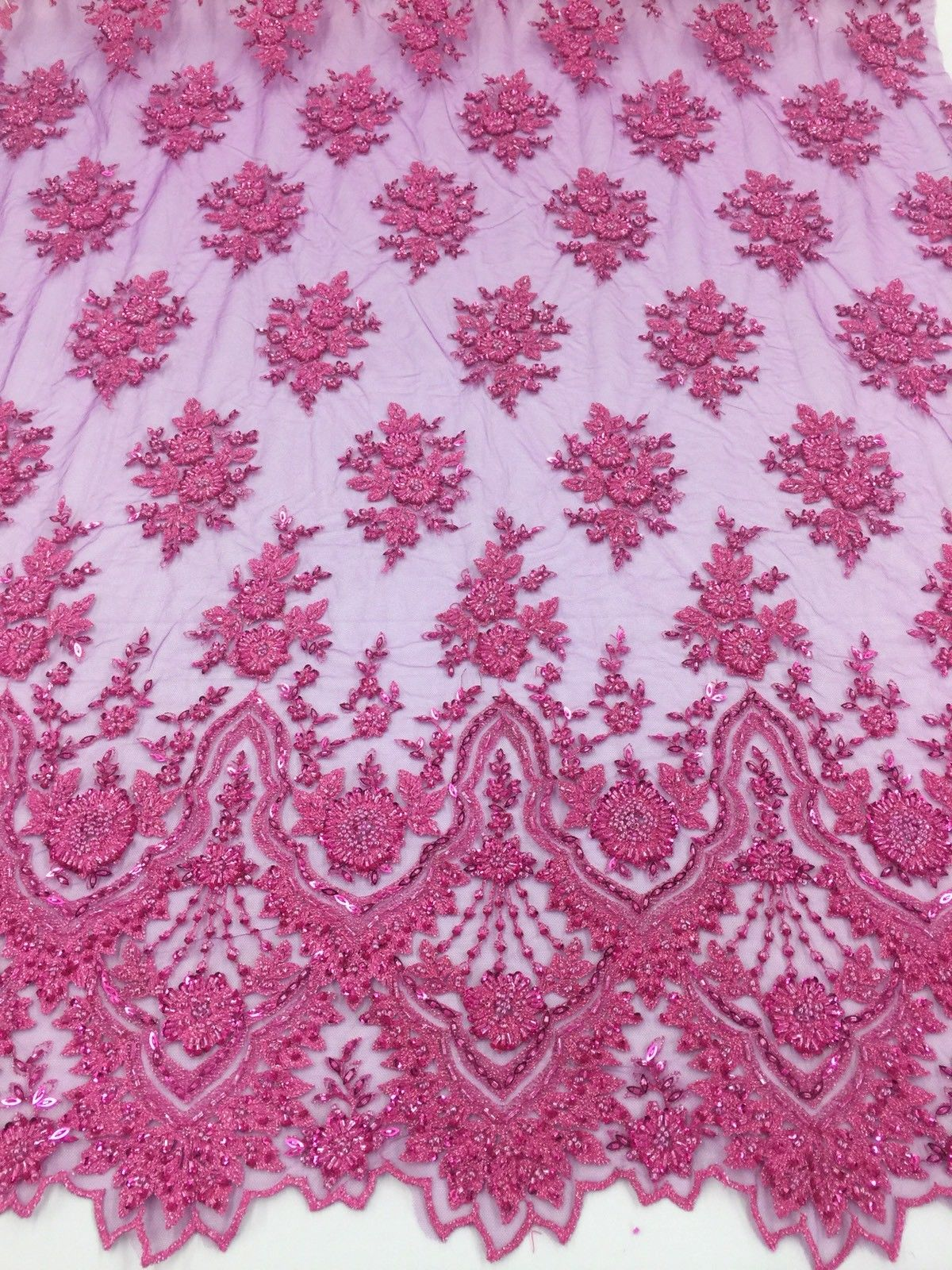 Beaded fabric - Embroidered Mesh Squin Fuchsia Bridal Veil & Wedding By The Yard - KINGDOM OF FABRICS