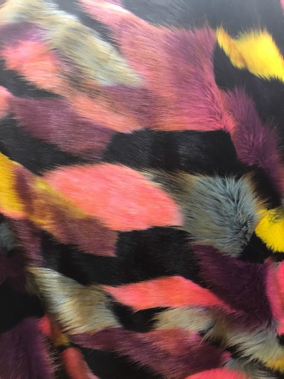 Majestic Faux Fur Fabric Design Multi Color Coral Top Luxury. Sold By Yard - KINGDOM OF FABRICS