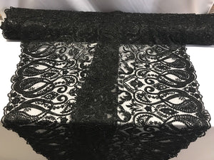 Lace fabric By The Yard Black Mesh Dress Hand Embroidered Beaded Bridal Wedding