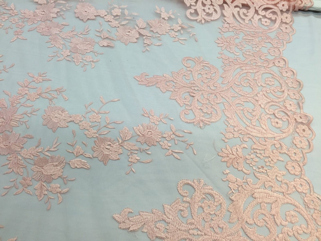 Peach Flowers Embroider On A 2 Way Stretch Mesh Lace.Wedding/Bridal ...
