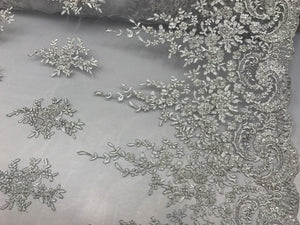 Grand Design Beaded Mesh Lace Fabric Bridal Wedding Metallic White. Sold By Yard - KINGDOM OF FABRICS