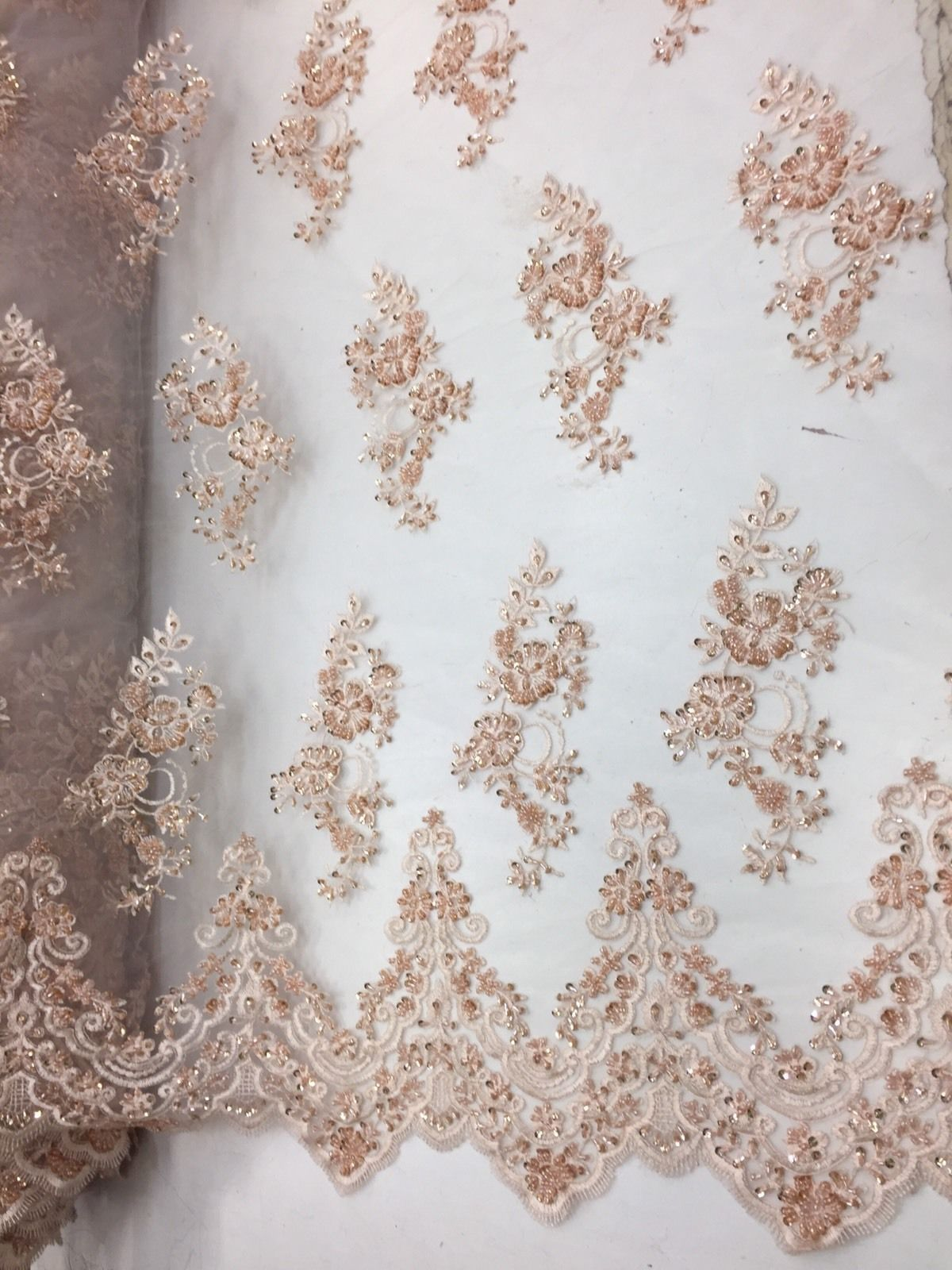Beautiful Blush Peach hand beaded flowers on a mesh-Prom-nightgown-by the yard. - KINGDOM OF FABRICS