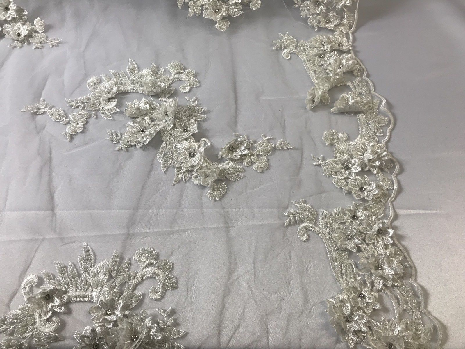 Off White 3D Flower Lace Fabric Beaded & Diamond Bridal Wedding Dress By The Yard - KINGDOM OF FABRICS
