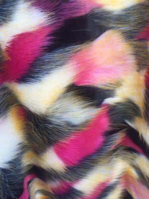 Jerusalem Multicolor Faux Fur Fabric French Design. Sold By The Yard - KINGDOM OF FABRICS