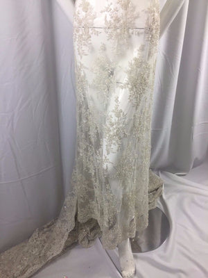 Super Bridal luxury wedding beaded offwhite mesh lace fabric. Sold by the yard - KINGDOM OF FABRICS
