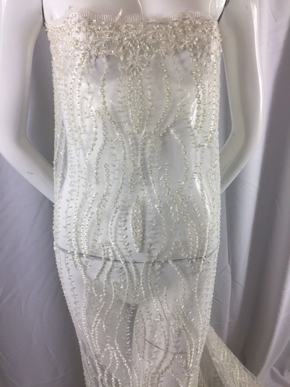 Classy bridal wedding beaded mesh lace ivory. sold by the yard. - KINGDOM OF FABRICS