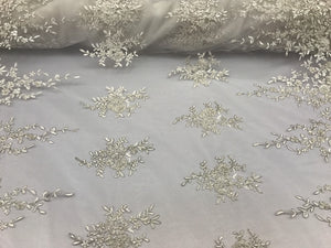 Grand Design Beaded Mesh Lace Fabric Bridal Wedding Metallic Ivory. Sold By Yard - KINGDOM OF FABRICS