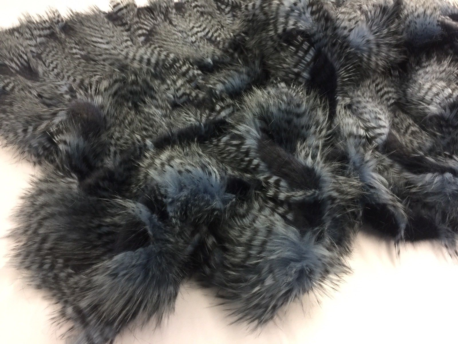 "FAUX FAKE FUR FEATHERED BIRD LONG PILE FABRIC - Navy - 62"" WIDE BY THE YARD COAT - KINGDOM OF FABRICS"
