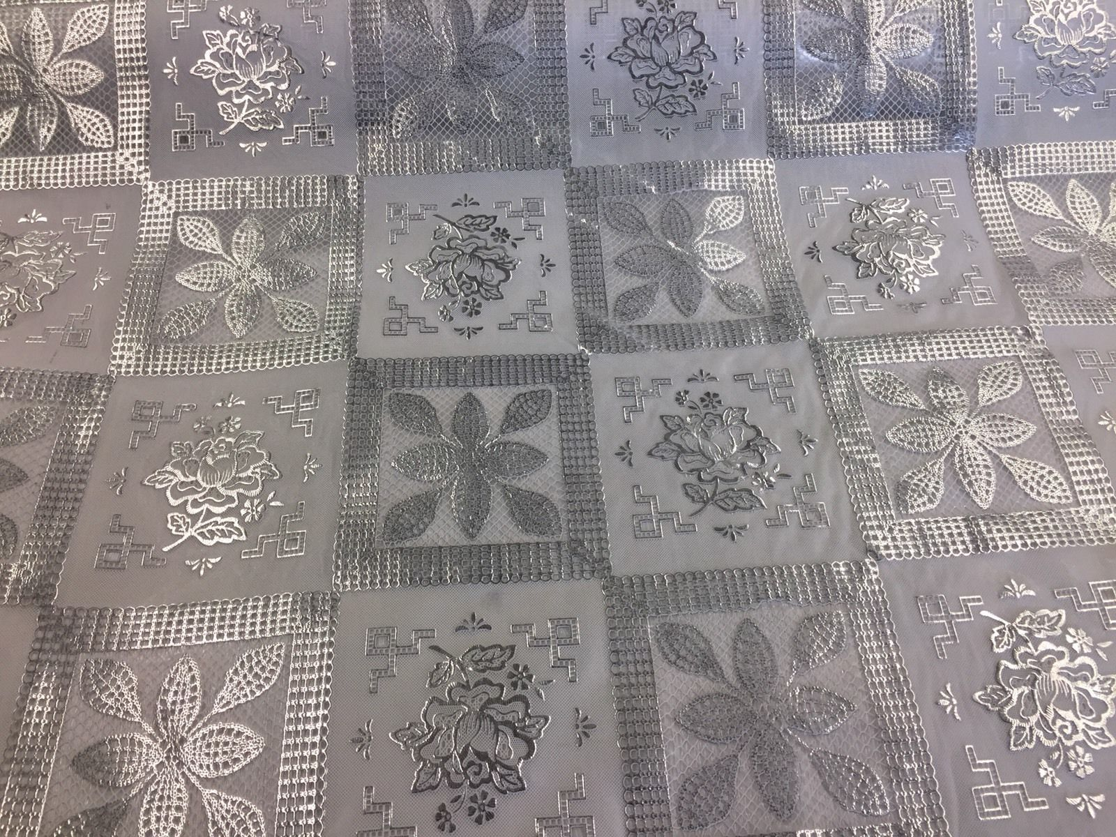 Metallic Silver/white squares tablecloth vinyl fabric inch 54 x 36-Sold by yard - KINGDOM OF FABRICS