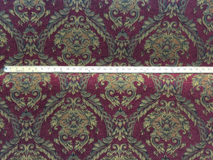 Chenille upholstery Drapery Damask Ruby Gold Print furniture fabric sold BTY - KINGDOM OF FABRICS