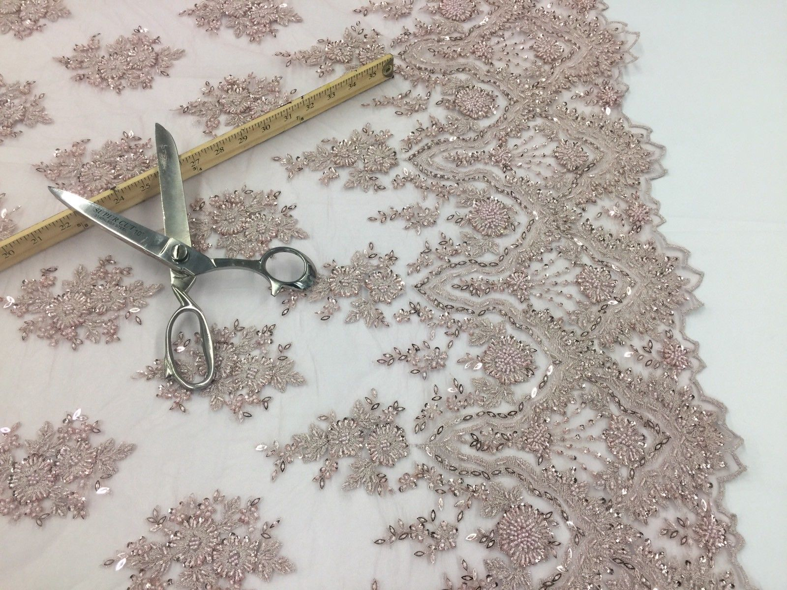 Beaded fabric - Embroidered Mesh Squin Blush Pink Bridal Veil & Wedding By Yard - KINGDOM OF FABRICS