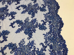 Lace Fabric - 3D Flower Beaded With Precious Crystal Sequins R-Blue By The Yard - KINGDOM OF FABRICS