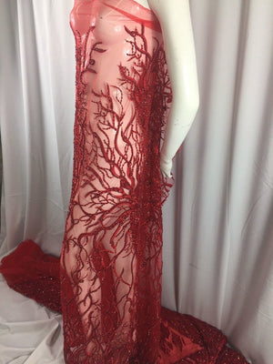Luxurious Root Tree Design Beaded Mesh Lace Fabric Bridal Red. Sold By Yard - KINGDOM OF FABRICS