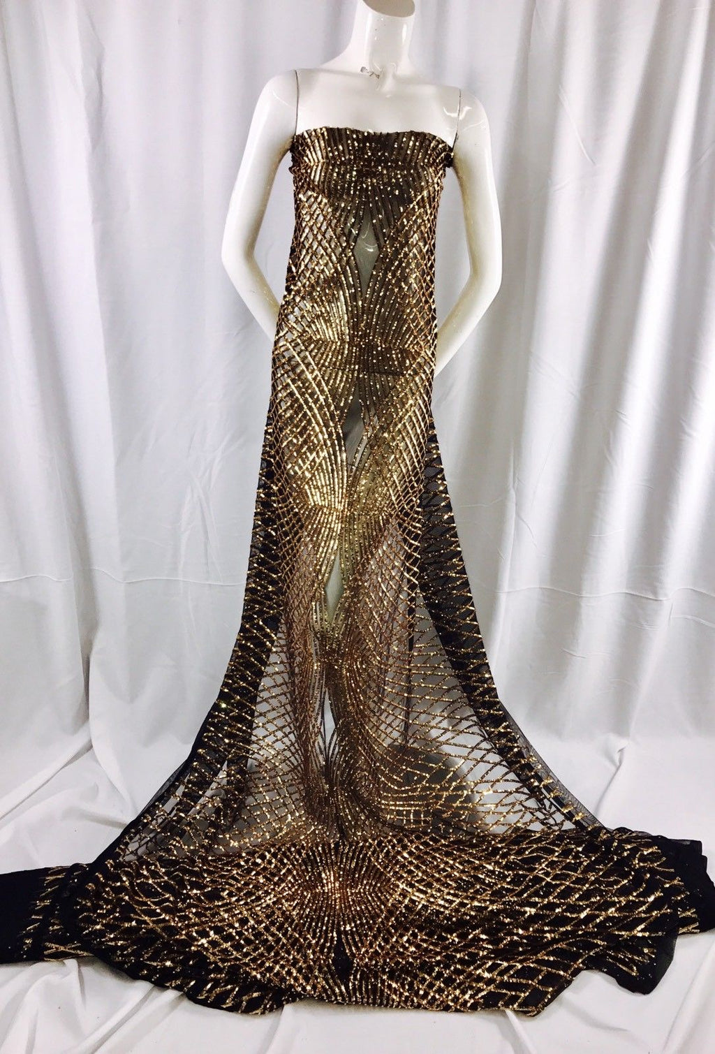 Dk.Gold Venom Diamond Web Embroider With Sequins On A Black Mesh-Sold By Yard. - KINGDOM OF FABRICS