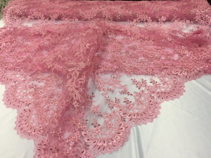 Bridal Wedding Mesh Lace Fabric Pink. Sold By Yard - KINGDOM OF FABRICS
