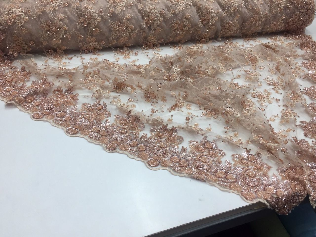 Supreme Luxurious Heavy Beaded Mesh Lace Fabric Bridal Wedding Blush. 1 Yard - KINGDOM OF FABRICS