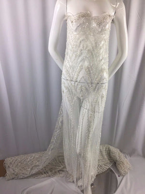 Mercedes Beaded Design Mesh Lace Bridal Wedding Fabric Off White. Sold By Yard - KINGDOM OF FABRICS
