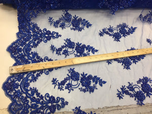 Beautiful Royal Blue hand beaded flowers on a mesh-Prom-nightgown-by the yard. - KINGDOM OF FABRICS