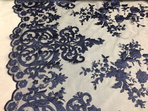 Navy Embroidered Lace Fabric On A 2 Way Stretch - Wedding Dress - By The Yard - KINGDOM OF FABRICS