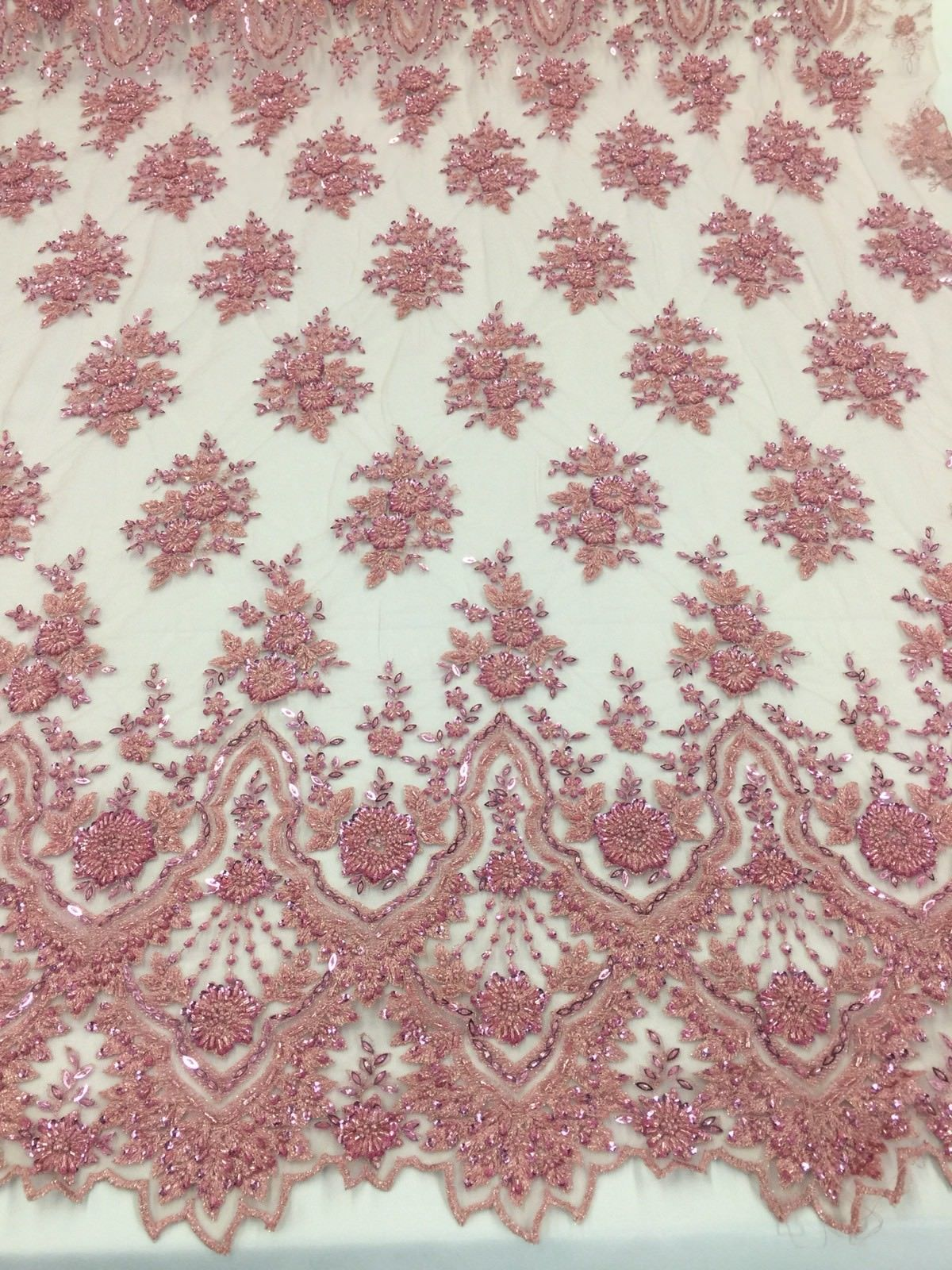 Beaded fabric - Embroidered Mesh Squin Dusty Rose Bridal Veil & Wedding By Yard - KINGDOM OF FABRICS