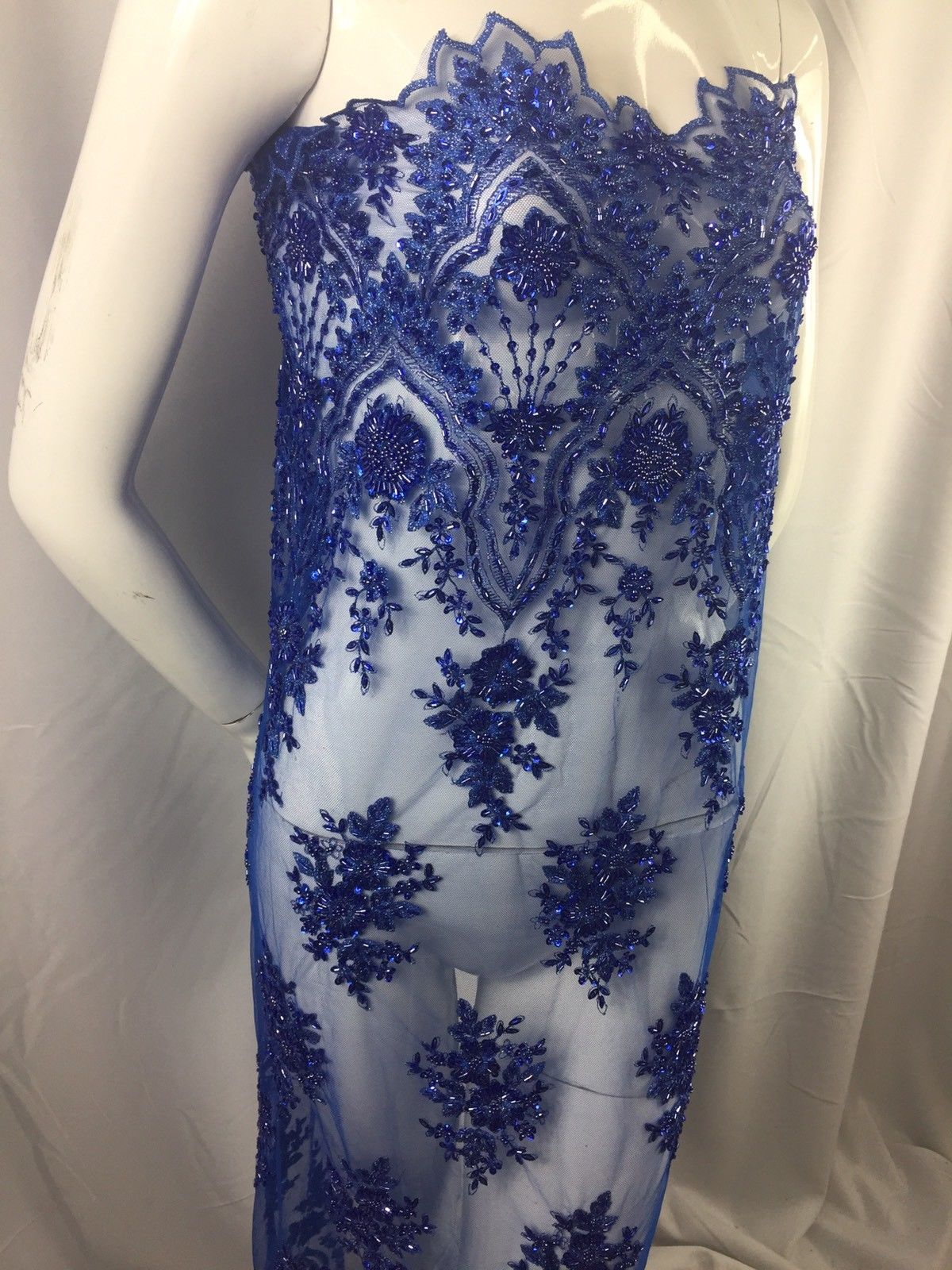 Beaded fabric - Embroidered Mesh Squin R -Blue Bridal Veil & Wedding By The Yard - KINGDOM OF FABRICS