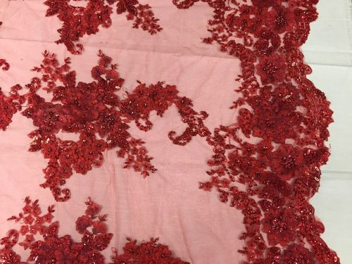 Italian Flower Design Beaded Mesh Lace Fabric Red. Sold By Yard - KINGDOM OF FABRICS