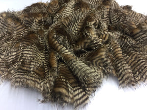 "FAUX FAKE FUR FEATHERED BIRD LONG PILE FABRIC - Gold - 62"" WIDE BY THE YARD COAT - KINGDOM OF FABRICS"