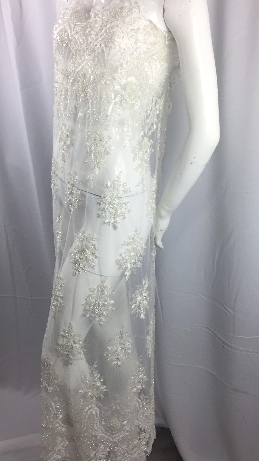 Beaded fabric - Embroidered Mesh Squin Ivory Bridal Veil & Wedding By The Yard - KINGDOM OF FABRICS