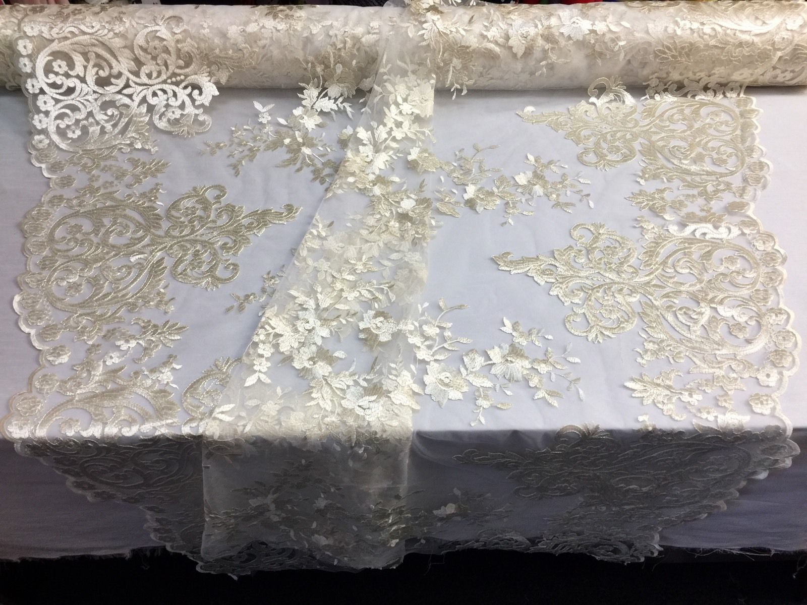 Ivory Embroidered Lace Fabric On A 2 Way Stretch - Wedding Dress - By The Yard - KINGDOM OF FABRICS