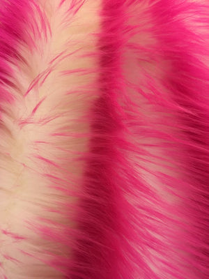 Super Soft Faux Fur Shaggy Twotone Fabric Fuschia/offwhite. Sold By The Yard - KINGDOM OF FABRICS