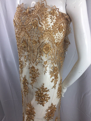 Beaded fabric - Embroidered Mesh Squin Gold Bridal Veil & Wedding By The Yard - KINGDOM OF FABRICS