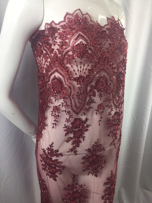 Beaded fabric - Embroidered Mesh Squin Burgundy Bridal Veil & Wedding By Yard - KINGDOM OF FABRICS