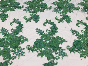 Lace Fabric - 3D Flower Beaded With Precious Crystal Sequins Green By The Yard - KINGDOM OF FABRICS