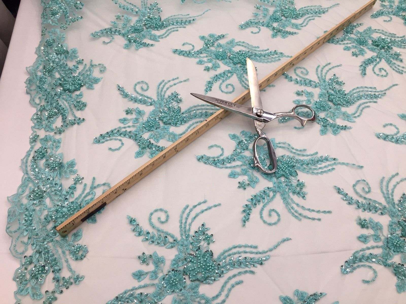 Mint French Design Embroider And Beaded On A Mesh Lace.Wedding/prom/Fabric.. - KINGDOM OF FABRICS
