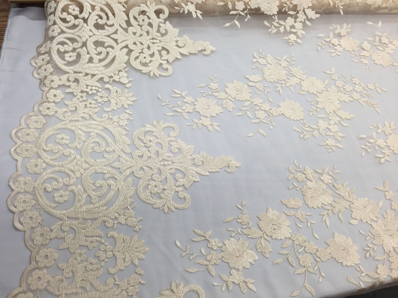 Cream/champagne Flowers Embroider On A 2 Way Stretch Mesh Lace.Wedding/Bridal. - KINGDOM OF FABRICS