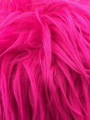 Fascinating Mongolian fake fur fabric fuschia. Sold by the yard. - KINGDOM OF FABRICS