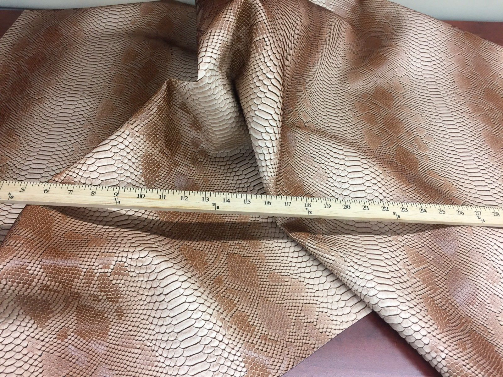 VIPER SOPYTHANA EMBOSSED SNAKE SKIN VINYL LEATHER FABRIC UPHOLSTERY W.BROWN YRD - KINGDOM OF FABRICS