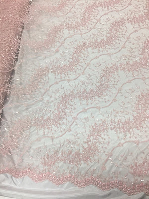 Serenity Light Pink French Beaded Design Embroider On A Mesh-Prom-nightgown.1yd - KINGDOM OF FABRICS