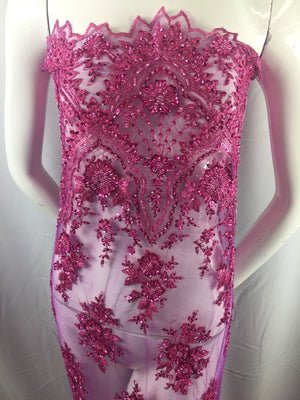 Beaded fabric Embroidered Mesh Squin Fuchsia Bridal Veil /& Wedding By The Yard