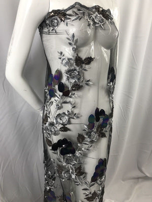Lace Flower Girl Dress Silver Hologram Big Dot Sequins Mesh Decorations By Yard