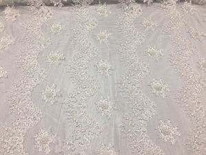 Uniquely Designed Bridal Wedding Beaded Mesh Lace Fabric White. Sold By The Yard - KINGDOM OF FABRICS