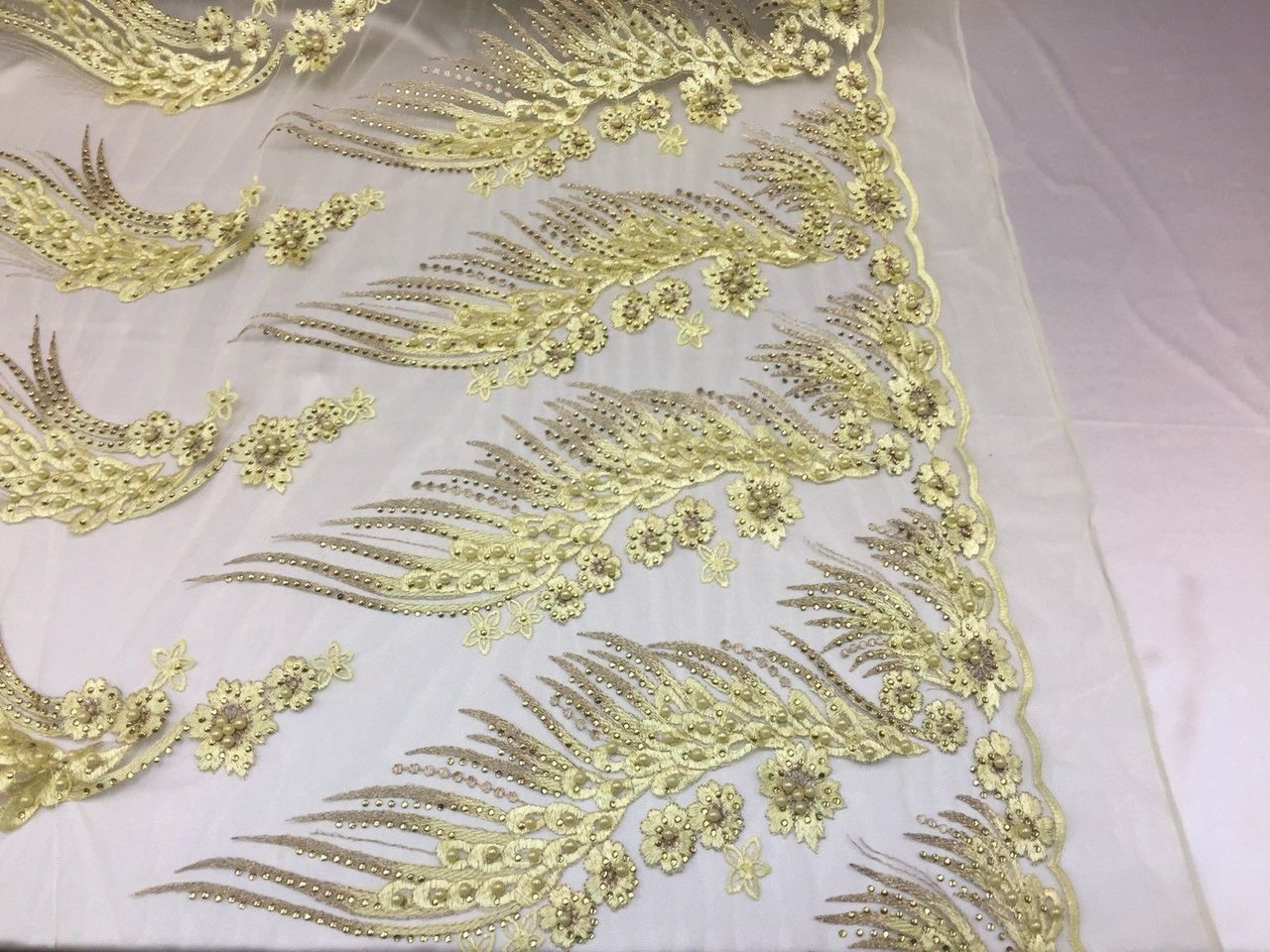 Her Majesty Designs Super Luxurious Beaded Bridal Wedding Mesh Lace Yellow.1 Yrd - KINGDOM OF FABRICS