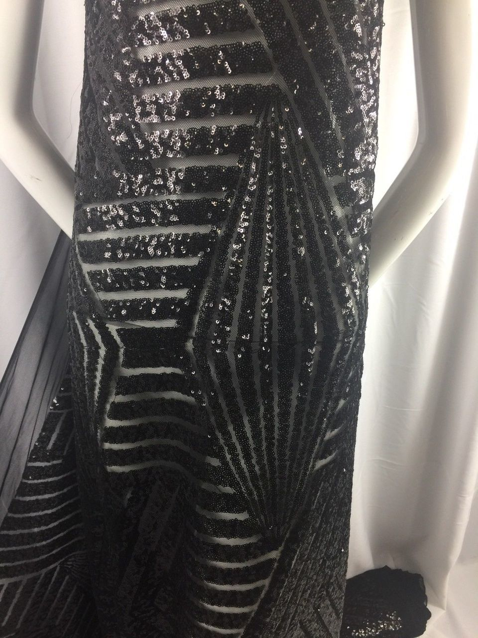 Black Geometric Sequins Embroider On A Mesh.wedding/bridal/nightgown/prom/fabric - KINGDOM OF FABRICS