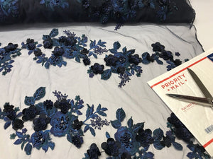 Beaded Fabric - Embroidered Mesh Top Bridal Veil Navy 3D Flower By The Yard - KINGDOM OF FABRICS